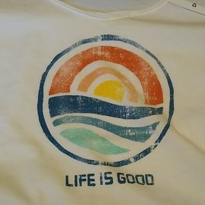 Women's Life is Good T-shirt Sz S White with Sun